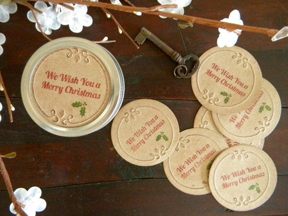 merry christmas canning jar lids stickers gifts in a jar etsy
