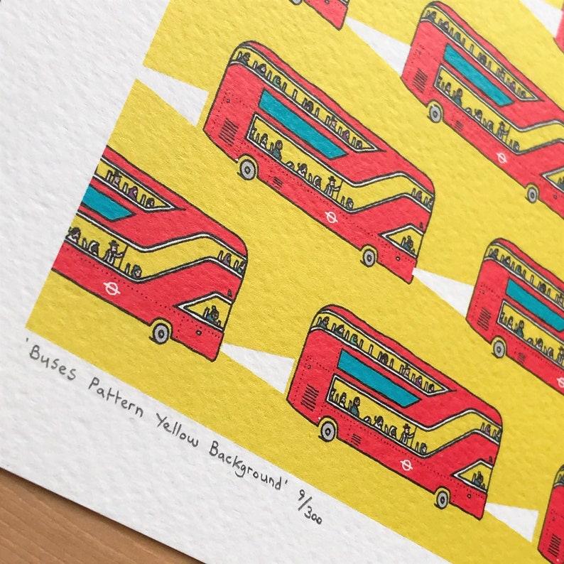 Adam Doughty Yellow Background London Illustration Art Print London Red Bus Pattern British Art