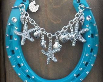 LUCKY HORSESHOE, decorated horseshoe, horseshoe, horse shoe, starfish, ocean, sealife, good luck, Christmas gift, horseshoe art, seashells