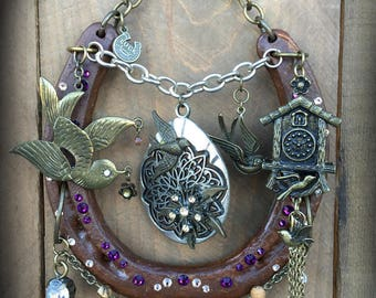HOUSE of SWALLOWS - lucky horseshoe, swallows, cuckoo clock, decorated horseshoe, gift, horse, home decor, horseshoe art, swarovski, cottage