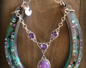 LUCKY HORSESHOE, horseshoe art, horseshoe,  good luck, unique gift, wall art, decorated horseshoe, one of a kind.
