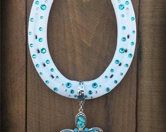 LUCKY HORSESHOE, decorated horseshoe, horseshoe, horse shoe, butterfly, good luck, white horseshoe, Christmas gift, horseshoe art