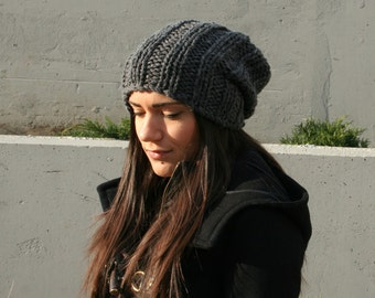 Сhunky knit hat  knit slouchy hat  knit slouch hat  charcoal grey hat  accessories  womens gift womens accessories slouchy hat