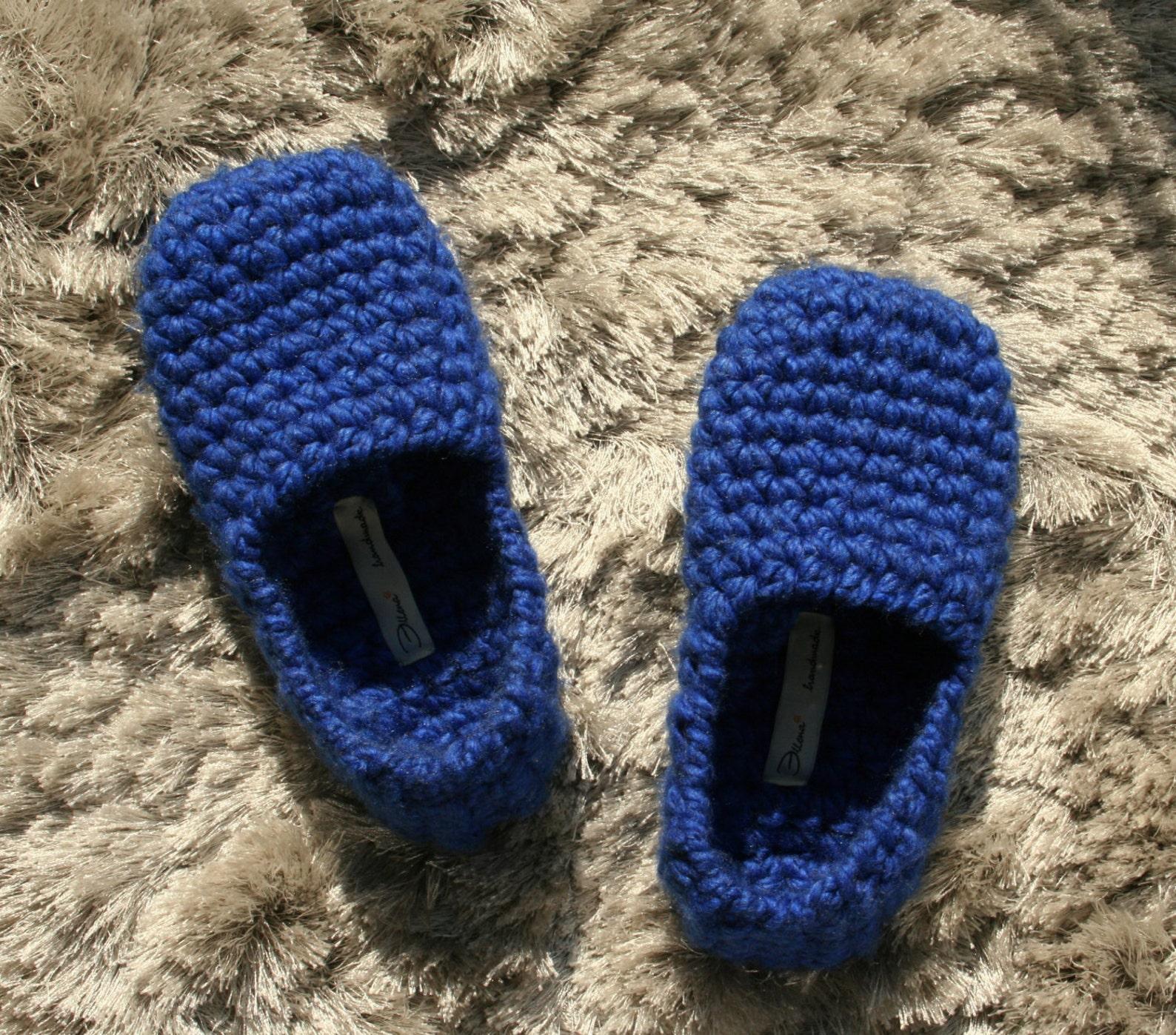 royal blue slippers for women - footwear - ballet flats - handmade home shoes - crochet slippers - non-slip slippers - slippers