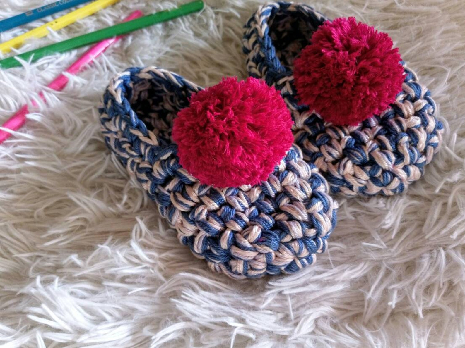 baby girl shoes, girl's crochet slippers, kids slippers, toddler ballet flats, blue slippers for girls, girl's gift