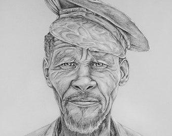 African Portrait Kalahari Bushman realistic Charcoal DRAWING print XL - monochrome wall art decor Botswana Artwork Black Grey