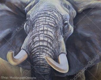 ELEPHANT Bull African artwork print Close up ILLUSTRATION wildlife portraits African elephant herd art - blue grey white nature lovers