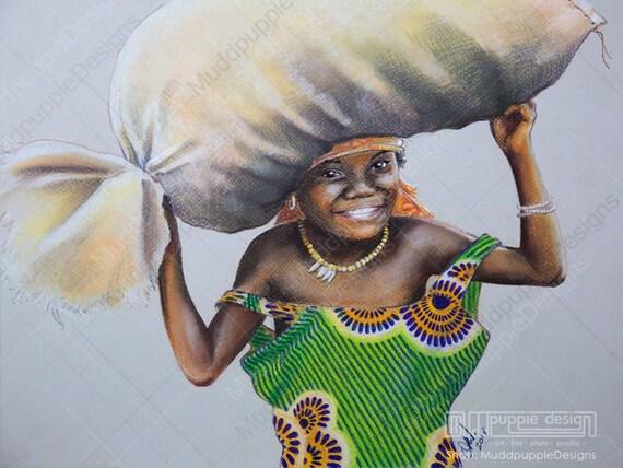 Robe Verte Coloré De Dessin De Fille De Le Grandes Tribus Réaliste De Le œuvre D Art Africain Enfant Portrait Pastel Wall Art Chambre Africaine