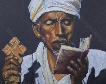 African Priest Large PORTRAIT Ethiopian Monk - Realistic artwork Chalk Pastel DRAWING colour bible cross african Wall art room decor