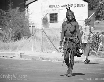 AFRICAN photo prints STREET PORTRAIT Himba Tribeswoman rustic monochrome photography Wall art African life dreadlocks woman Black and white