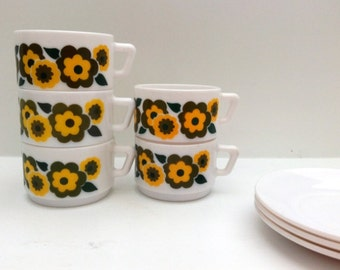 Vintage 1970s Arcopal cafe latte cup and saucer yellow lotus flower