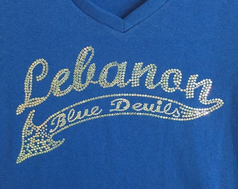 Lebanon Blue Devils Bling Custom Design on Royal T-Shirts and Sweat Shirts by Blingcons, Sizes Small - 5XL