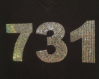 Area Code Bling Custom Design on Black T-Shirts and Sweat Shirts by Blingcons, Sizes Small - 5XL