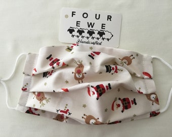 Cotton face covering mask Christmas Santa Rudolph Snowman with adjustable loops