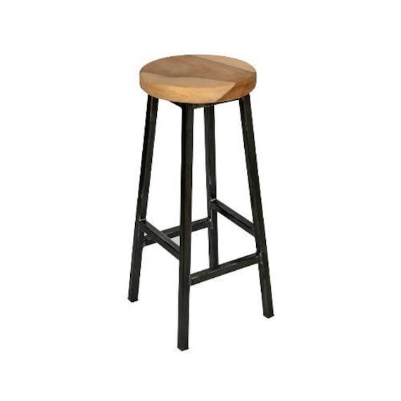 Wondrous Charlie Walters Chunky Square Frame Bar Stool With Chunky Walnut Seat Creativecarmelina Interior Chair Design Creativecarmelinacom