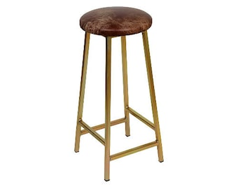 Bertie G Tanner - Zinc Plated Bar Stool with Leather Seat