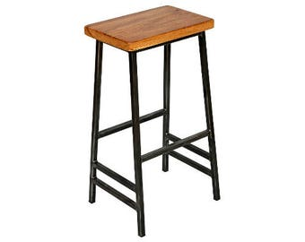 Slim Oakman - Slim Frame Saddle Stool with Oak Seat