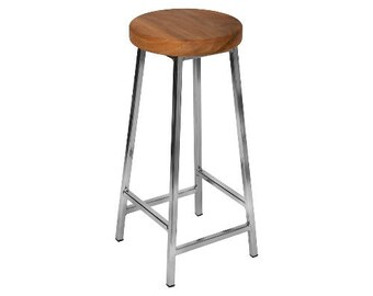 Bertie N Elmsworth - Nickle Plated Bar Stool with Chunky Elm Seat