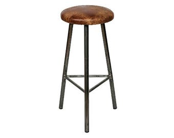 Trippie Tanner - Three Legged Bar Stool with Leather Seat