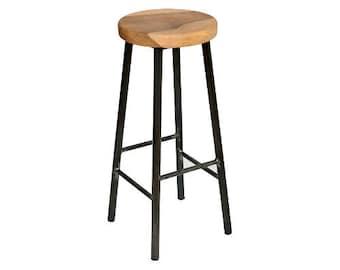 Rick Walters - Chunky Round Frame Bar Stool with Chunky Walnut Seat