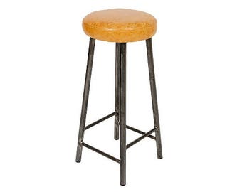 Rick Hyde - Round Frame Bar Stool with Leather Seat