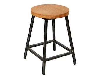 Beatrice Oakman - Low Industrial Bar Stool with Oak Seat