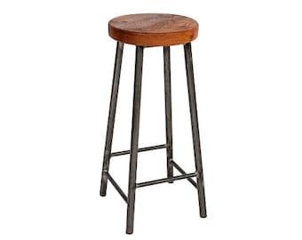 Rick Elmsworth - Chunky Round Frame Bar Stool with Chunky Elm Seat
