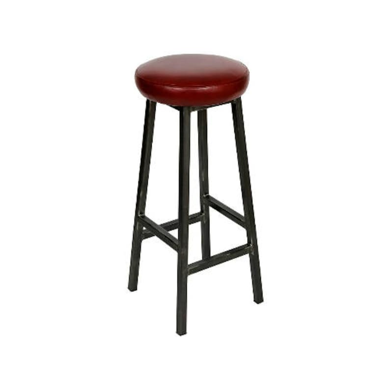Charlie Hyde  Chunky Square Frame Bar Stool with Leather Seat image 0