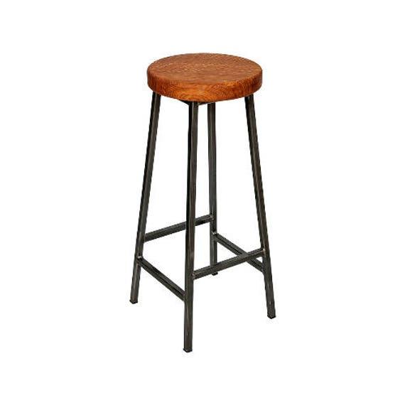Steel Frame Industrial Bar Stool Oak Seat