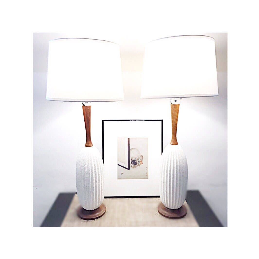 Pair of midcentury modern table lamps: textured off-white ceramic ...