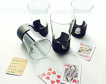 """70s Corning Glass SET: Four, 14 ounce SNAP GLAS """"high ball"""" glass tumblers; retro barware; very good used / vintage condition"""