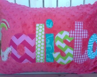 personalized applique name pillow- minky name throw pillow-kids throw pillow