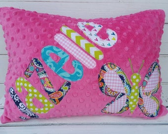 personalized applique name pillow- personalized throw pillow-kids name pillow-minky throw pillow
