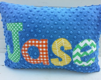 personalized applique name pillow- minky name throw pillow-boys blue minky throw pillow-kids minky name throw pillow