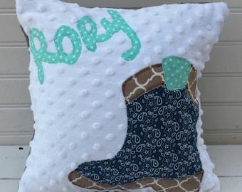 """personalized applique name pillow- minky name throw pillow-kids 12"""" square throw pillow"""