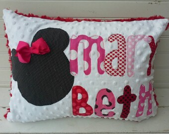 personalized applique name pillow- minky name throw pillow-kids throw pillow-minnie mouse pillow
