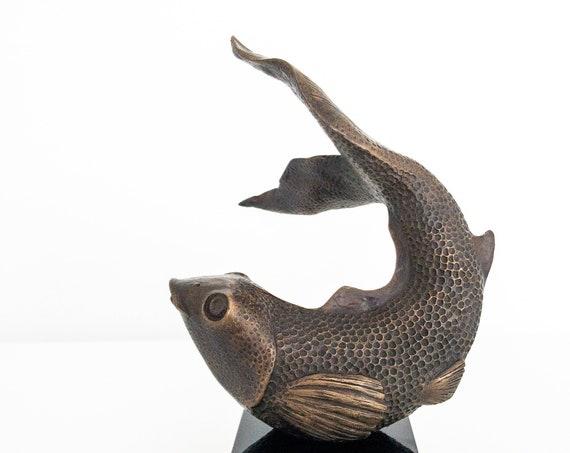 Happy Fish Sculpture, Koi Carp Sculpture, Limited Edition, bronze, black marble base, pond sculpture, garden sculpture