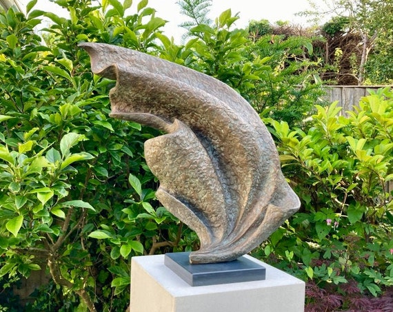 Wave Sculpture with slate base, bronze sculpture, Limited Edition