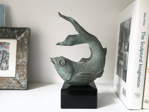 Fish Sculpture, Koi Carp Sculpture, Limited Edition, bronze, black marble base, pond sculpture, garden sculpture