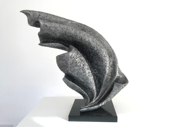Wave Sculpture with slate base, metal sculpture, aluminium, Limited Edition