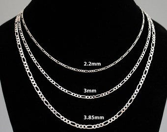 Glitzs Jewels 925 Sterling Silver Necklace Jewelry Gift for Women and Girls Italian Chain, Figaro 100