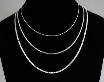 3b23cfe0d01 Box Chain Sterling Silver Necklace Box Link Chain Solid Sterling Silver 14  16 18 20 22 24 30 36 inch Venetian Chain Thick Thin Box Chain