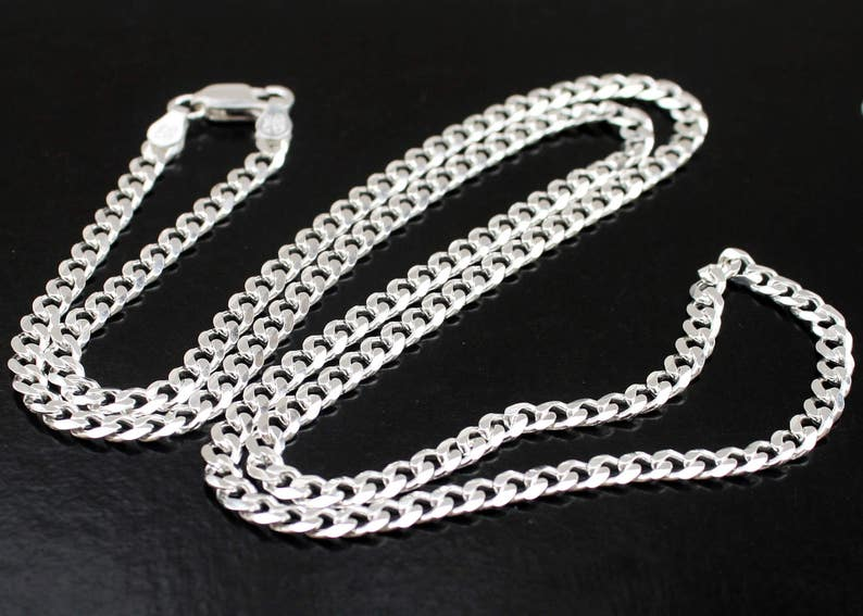 411581198a28f Mens Silver Curb Chain, Sterling Silver Necklace Silver Chain Thick Curb  Chain 18 20 22 24 inch 3.8mm width Free Shipping Dog Tag Chain