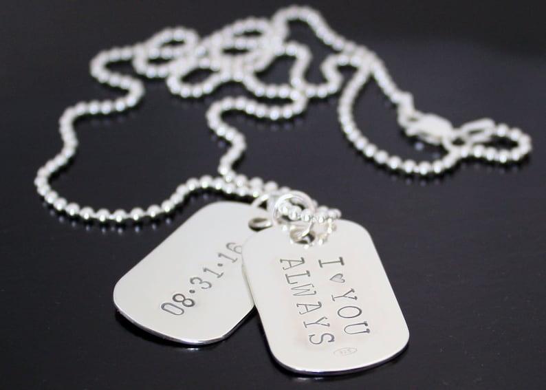 Mens Dog Tag Necklace Valentines Necklace Sterling Silver Dog  208318baf