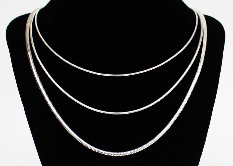 Silver Snake Chain Solid Sterling Silver 16 18 20 22 24 inch  7e6ebb8769