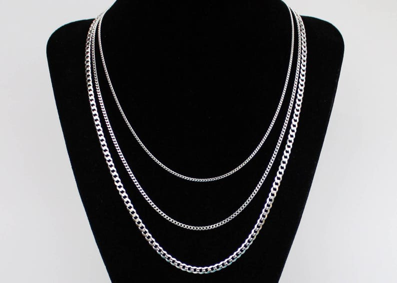 f5f99da4290 Silver Curb Chain Necklace Curb Link Chain Solid Sterling