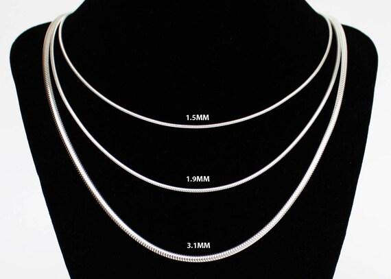 """14,16,18,20,22,24,30/"""" Argent Sterling 1.1 mm boîte de chaîne Pur .925 Italien Argent"""