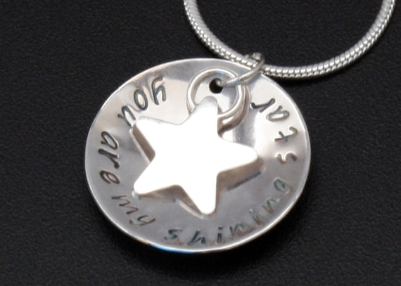 Double Sided star disc necklace You are my shining star pendant with star sterling silver pendant mothers day necklace