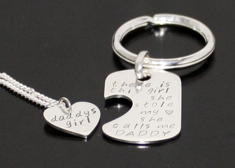 d317c70c7ead Sterling Silver Father Daughter Dog Tag Key Chain and Heart