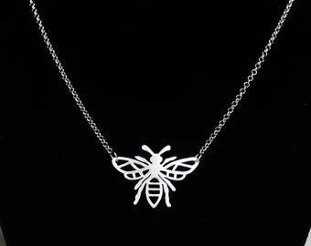 Bee necklace, Sterling Silver Bumble Bee Pendant, Honey bee necklace, Handmade Bee Jewelry Solid Sterling Silver Manchester Bee Worker Bee
